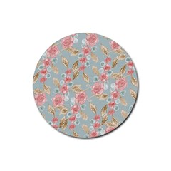 Background Page Template Floral Rubber Round Coaster (4 pack)