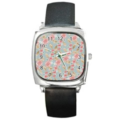 Background Page Template Floral Square Metal Watch