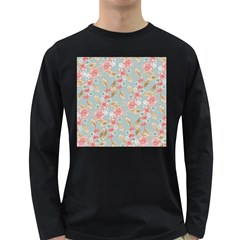 Background Page Template Floral Long Sleeve Dark T Shirts