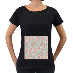 Background Page Template Floral Women s Loose-Fit T-Shirt (Black)