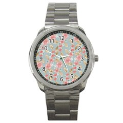 Background Page Template Floral Sport Metal Watch