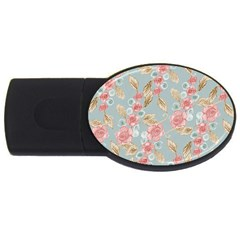 Background Page Template Floral Usb Flash Drive Oval (4 Gb)