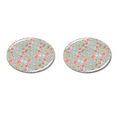 Background Page Template Floral Cufflinks (oval)