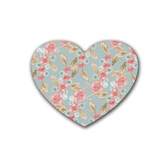 Background Page Template Floral Rubber Coaster (heart)