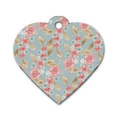 Background Page Template Floral Dog Tag Heart (one Side)