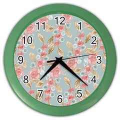 Background Page Template Floral Color Wall Clocks