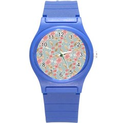 Background Page Template Floral Round Plastic Sport Watch (s)