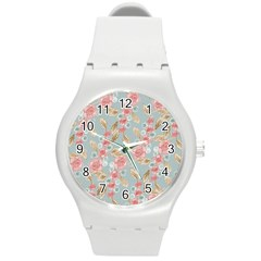 Background Page Template Floral Round Plastic Sport Watch (m)