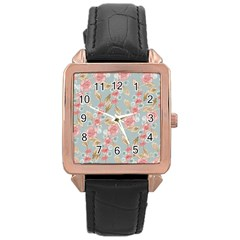 Background Page Template Floral Rose Gold Leather Watch