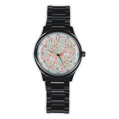 Background Page Template Floral Stainless Steel Round Watch