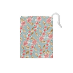 Background Page Template Floral Drawstring Pouches (small)