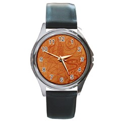 Burnt Amber Orange Brown Abstract Round Metal Watch