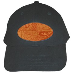 Burnt Amber Orange Brown Abstract Black Cap