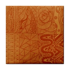 Burnt Amber Orange Brown Abstract Tile Coasters