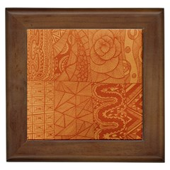 Burnt Amber Orange Brown Abstract Framed Tiles
