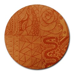 Burnt Amber Orange Brown Abstract Round Mousepads