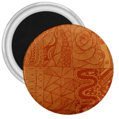 Burnt Amber Orange Brown Abstract 3  Magnets