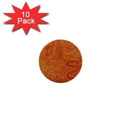 Burnt Amber Orange Brown Abstract 1  Mini Buttons (10 Pack)