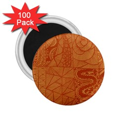 Burnt Amber Orange Brown Abstract 2 25  Magnets (100 Pack)