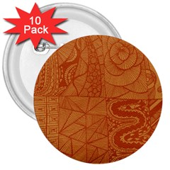 Burnt Amber Orange Brown Abstract 3  Buttons (10 Pack)