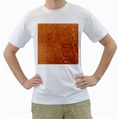 Burnt Amber Orange Brown Abstract Men s T Shirt (white) (two Sided)