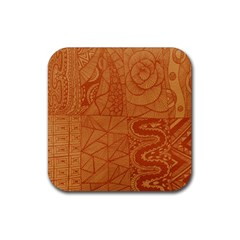 Burnt Amber Orange Brown Abstract Rubber Square Coaster (4 Pack)