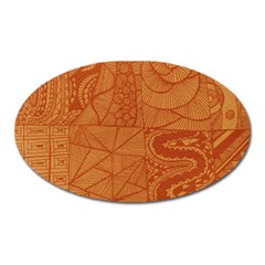 Burnt Amber Orange Brown Abstract Oval Magnet