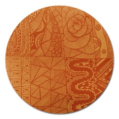 Burnt Amber Orange Brown Abstract Magnet 5  (round)