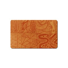 Burnt Amber Orange Brown Abstract Magnet (name Card)