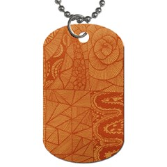 Burnt Amber Orange Brown Abstract Dog Tag (one Side)