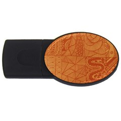 Burnt Amber Orange Brown Abstract Usb Flash Drive Oval (2 Gb)