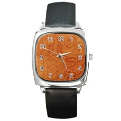 Burnt Amber Orange Brown Abstract Square Metal Watch