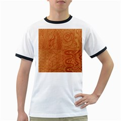 Burnt Amber Orange Brown Abstract Ringer T Shirts