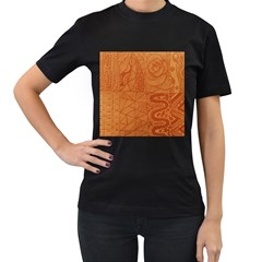 Burnt Amber Orange Brown Abstract Women s T Shirt (black) (two Sided)