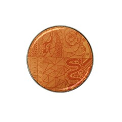 Burnt Amber Orange Brown Abstract Hat Clip Ball Marker (4 Pack)