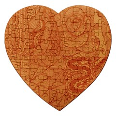 Burnt Amber Orange Brown Abstract Jigsaw Puzzle (heart)