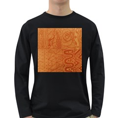 Burnt Amber Orange Brown Abstract Long Sleeve Dark T Shirts
