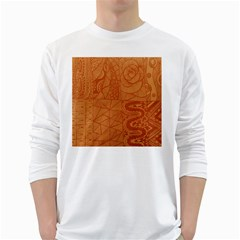 Burnt Amber Orange Brown Abstract White Long Sleeve T Shirts