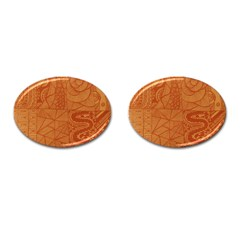 Burnt Amber Orange Brown Abstract Cufflinks (oval)