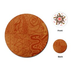 Burnt Amber Orange Brown Abstract Playing Cards (round)