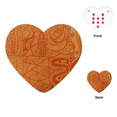 Burnt Amber Orange Brown Abstract Playing Cards (heart)