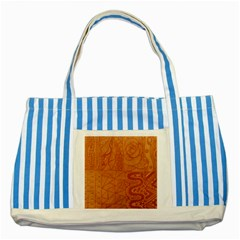 Burnt Amber Orange Brown Abstract Striped Blue Tote Bag