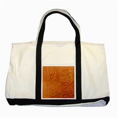 Burnt Amber Orange Brown Abstract Two Tone Tote Bag