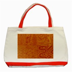 Burnt Amber Orange Brown Abstract Classic Tote Bag (red)