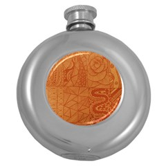 Burnt Amber Orange Brown Abstract Round Hip Flask (5 Oz)