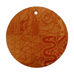 Burnt Amber Orange Brown Abstract Round Ornament (two Sides)