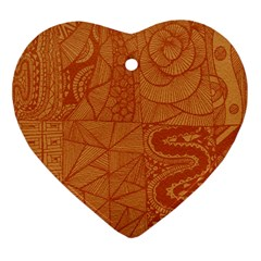 Burnt Amber Orange Brown Abstract Heart Ornament (2 Sides)