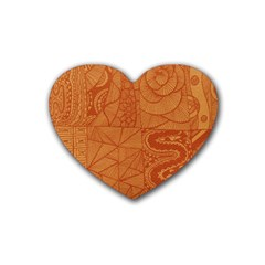 Burnt Amber Orange Brown Abstract Heart Coaster (4 Pack)