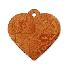 Burnt Amber Orange Brown Abstract Dog Tag Heart (two Sides)