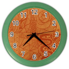 Burnt Amber Orange Brown Abstract Color Wall Clocks